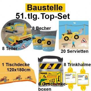 51tlg. TOP-Set BAUSTELLE Kinder Geburtstag Party Teller Becher Tischdecke - DHK