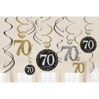 70. Geburtstag Party 12 tlg Swirl Girlanden schwarz Gold Raum Deko Jubiläum 0964