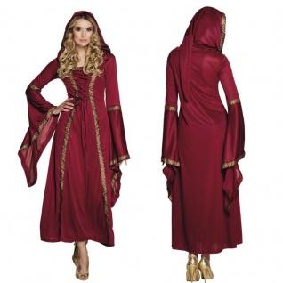 WOW Mittelalter Lady Damen Kostüm Burgfräulein Freifrau Hofdame Kleid mit Kapuze