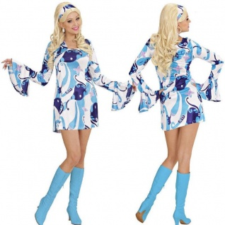 d465b32eabd 60er 70er Hippie Retro Minikleid Damen Kostüm Disco Mini Kleid Schlagermove  blau