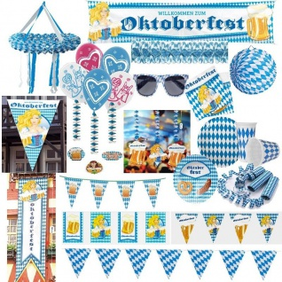 WOW Oktoberfest Party Dekoration Bayern Bavaria Wiesn blau weiss Raute Set Telle