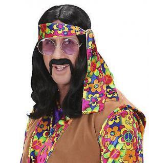 HIPPIE PERÜCKE schwarz Karneval Fasching 70er Jahre Herren Kostüm Party 6495