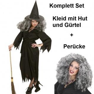 TOP HEXEN KLEID MIT PERÜCKE Damen Kostüm Gr. 34/36 (S) schwarz Halloween Hexe