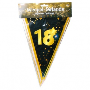 "10 m Wimpel-Girlande "" 18"" Geburtstag Wimpelkette schwarz/gold Party Deko #3083"