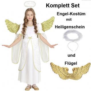 GOLDENER ENGEL Kinder Kostüm + FLügel + Heiligenschein Komplettset 128 140 158