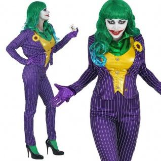 Mad Joker Damen Kostüm Gr. L 42/44 - Schurkin Harlekin Clown Bösewicht - #0803
