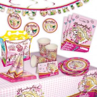Barbie Partykoffer 49-tlg. Deko Set für 6 Personen Pferde Motiv Teller Becher