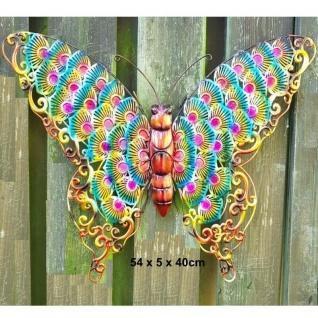 Schmetterling XXL 3D Metall Wanddeko 54x40cm mehrfarbig Haus Garten Deko #2502B
