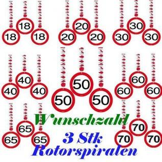 3 ROTORSPIRALEN Verkehrsschild WUNSCHZAHL Party Deko Geburtstag