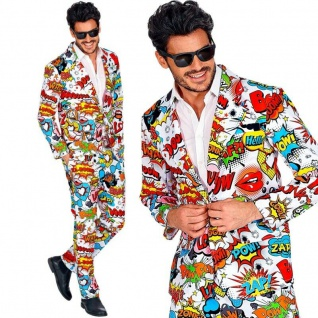 60er JAHRE POP ART STYLE Comic Party Anzug Herren Kostüm Hipster - Hose Jacket