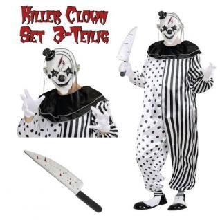 KILLER CLOWN Kostüm Overall MIT MASKE + MESSER Pierrot Halloween Psycho Horror