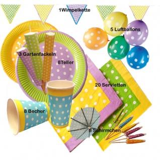 52tlg. Party-Set bunt Pünktchen Sommer Garten Party -Teller Becher Ballon Fackel