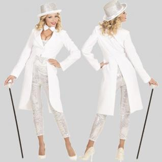 Damenfrack weiß Damen Frack lang Frauen Fasching Karneval Kostüm Jacket S, M, L,