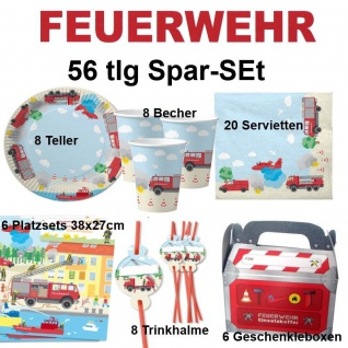 56tlg. Spar-Set FEUERWEHR Kinder Geburtstag Party Teller Becher Trinkhalme DHKzt