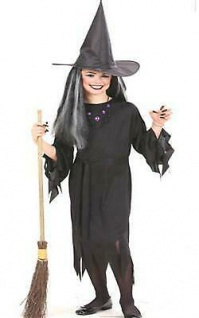 Hexen Kostüm mit Gürtel + Hut Hexenkleid schwarz Mädchen 128 140 158 Halloween