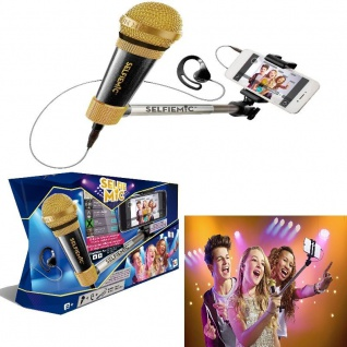 IMC Toys Mikrofon und Selfiestick - Selfie MIC BLACK - Karaoke ab 8 Jahre