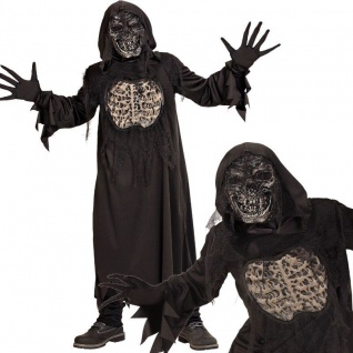 DÄMON ZOMBIE Skelett Kinder Kostüm Gr. 128 Robe m.Kapuze Handschuhe Maske #7846