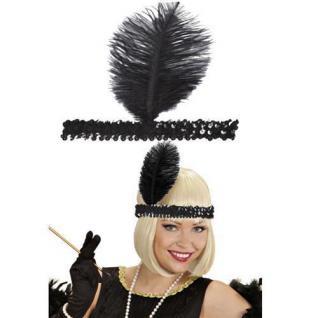 Charleston-Band Flapper schwarz mit Federn Pailettenstirnband Stirnband #620