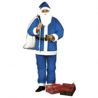 5-tlg. Weihnachtsmann Santa Claus Nikolaus - blau - Herren Kostüm #15369