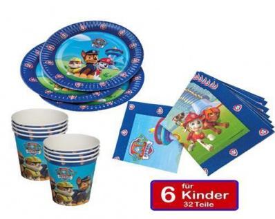 Paw Patrol Kinder Geburtstag Party Teller Becher Servietten 6 Kinder 32tlg.(Tip)