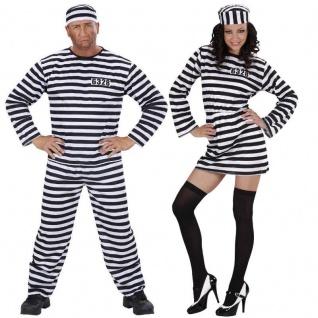 Damen Herren Kostüm STRÄFLING Häftling Gefangene Knasti Verbrecher Partnerkostüm