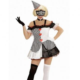 Clown Kostüm Pierrot 34-36 Damen Kleid mit Hut Harlekin Karneval 5761