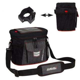 Starling® LENKERTASCHE Tasche CLIP-ON Halter Fahrradtasche NEU! Anthrazit/rot