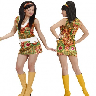 60er Jahre Hippie Girl 34/36 (S) Damen Kostüm Disco Minikleid Karneval #3331