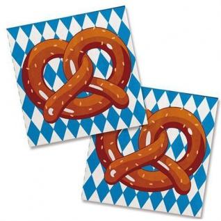 20er Pack Oktoberfest Servietten Bayern Party blau-weiss mit Brezel 25x25 cm