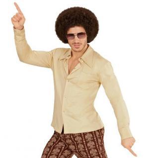 70er Jahre Disco HEMD Herren beige - Kostüm Zubehör Schlager Motto Party S-XXL