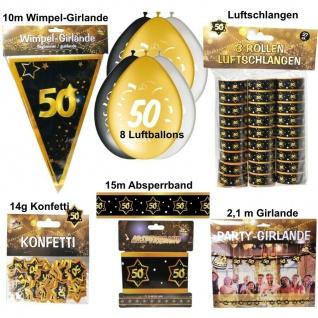 Großes Party Deko Set GOLD 50. Geburtstag Jubiläum 50 Jahre Hochzeit (Set 2)