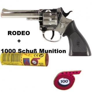 RODEO CHROM Knall-Pistole + 1000 Schus Munition Kinder Spielzeug Revolver Wester