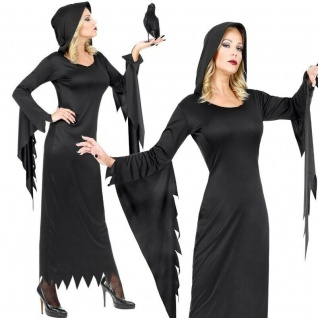 Dunkle Königin Damen Kostüm schwarz PREISHIT Vampir Hexe Gothic Kleid mit Kapuze