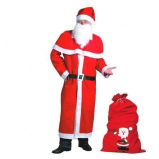 Weihnachtsmann Mantel Kostüm-Set 6-teilig mit Filzsack Nikolaus
