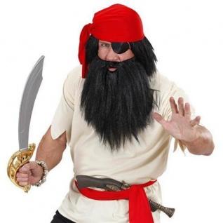 PIRATEN Perücke mit Vollbart schwarz Pirat Wilder Steinzeit Urzeit Kostüm 7030n