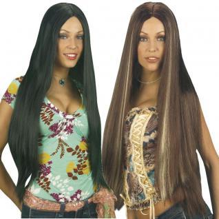 SUPERLANGE Damen Perücke Langhaar 80 cm schwarz oder braun mit Strähnen