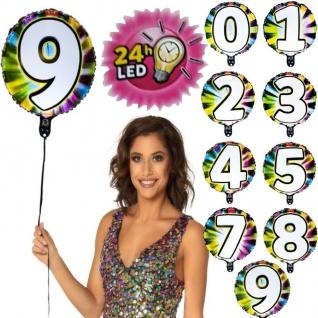 LED Folien Luftballon mit Zahl leuchtend Geburtstag Jubiläum Party Deko Ballon