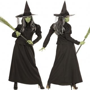 Hexe Kostüm BLACK WITCH Damen Hexenkostüm Halloween Zauberin Magierin