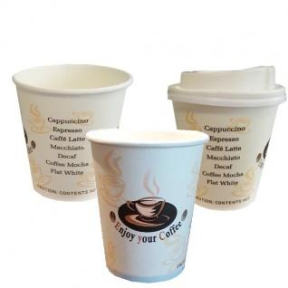 Pappbecher Coffee To Go Becher Kaffeebecher mit oder ohne Deckel 0, 2 l AUSWAHL