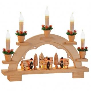 SCHWIBBOGEN aus Holz mit 8 LED 27X5X34cm Lichterbogen Schwippbogen Dorfdesign