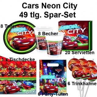 49 tlg. Spar-Set CARS NEON CITY Kinder Geburtstag Teller Becher Tischdecke