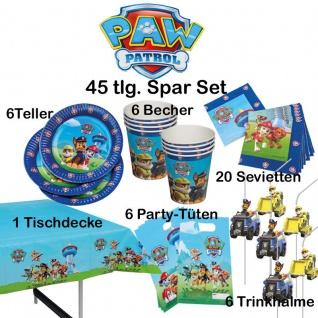 45-tlg. Super-Spar-Set PAW PATROL Kinder Geburtstag Party Deko Teller-Becher usw