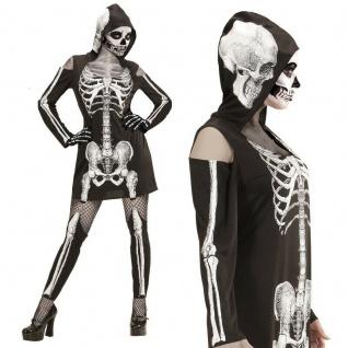 SKELETTLADY Gr. M 38/40 Skelett Kleid Kapuze Strapsen-Leggings Damen Kostüm #987