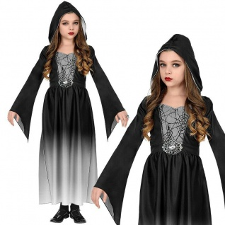 Mittelalter Kostüm Kinder Gothic KLEID MIT KAPUZE - Gr. 158 Mädchen Vampir #4807