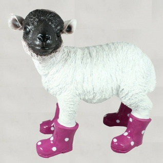 Gartenfigur Lamm mit Gummistiefel Schaf lebensecht Garten Deko brombeer #3159