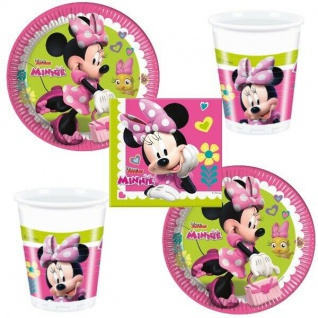 MINNIE MAUS Party Set - Becher Servietten Teller - Kinder Geburtstag 52 tlg.