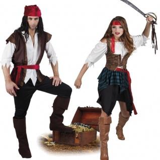 PIRATIN PIRAT Damen und Herren Seeräuber Partner Kostüm komplettes Piratenkostüm