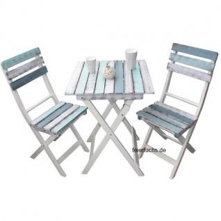 Balkonset BOAT-LOOK im Shabby Design 1 Tisch 2 Stühle Gartentisch Gartenstuhl