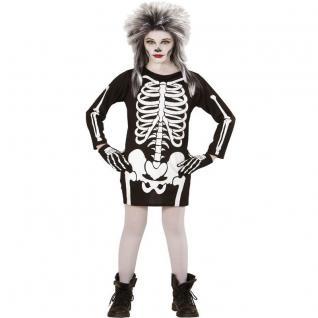 SKELETT KLEID Kinder Kostüm 158 für 11-13 Jahre Totenkopf Halloween 0368