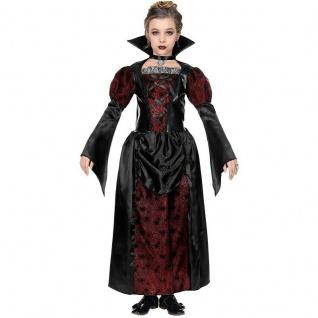 Royal Vampirin Vampir Kostüm Kinder Gr. 128 Mädchen Halloween rot-schwarz #7023